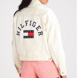 Tommy Jeans Hilfiger Pale Yellow Denim Jacket Logo